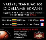 Draugiškų vyrų krepšinio varžybų Lietuva – Prancūzija transliacija restorane Karpynė 21.30 val.