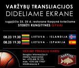 Draugiškų vyrų krepšinio varžybų Lietuva – Ispanija transliacija restorane Karpynė 19.30 val.
